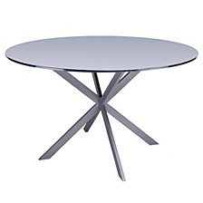 Mystere Modern Dining table:  In Grey Powder Coated Finish With Grey Tempered Glass Top