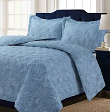 Lyon Microfiber Paisley Printed Oversized Twin Quilt Set