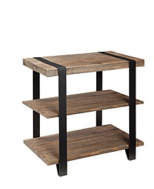 Modesto Metal Strap and Reclaimed Wood End Table with Shelf