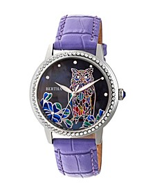 Quartz Madeline Collection Purple Leather Watch 36Mm