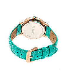 Bertha Quartz Madeline Collection Turquoise Leather Watch 36Mm