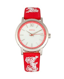 Bertha Quartz Penelope Collection Red And Silver Leather Watch 36Mm