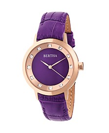 Bertha Quartz Cecelia Collection Purpleleather Watch 34Mm