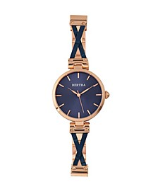 Quartz Amanda Collection Rose Gold And Blue Stainless Steel Watch 36Mm
