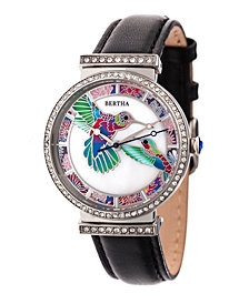 Bertha Quartz Emily Collection Silver And Black Leather Watch 37Mm