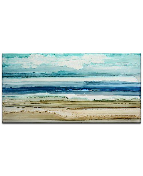 "Ready2HangArt 'Beach Shore' Abstract Canvas Wall Art, 18x36"""