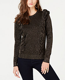 MICHAEL Michael Kors Metallic Ruffle-Detail Sweater, in Regular and Petite Sizes
