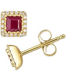 Certified Ruby (3/4 ct. t.w.) & Diamond (1/8 ct. t.w.) Stud Earrings in 14k Gold
