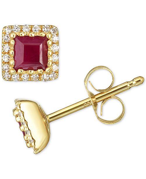 Macy's Certified Ruby (3/4 ct. t.w.) & Diamond (1/8 ct. t.w.) Stud Earrings in 14k Gold