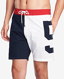 "Tommy Hilfiger Men's Pier 85 Colorblocked 6.5"" Board Shorts, Created for Macy's"