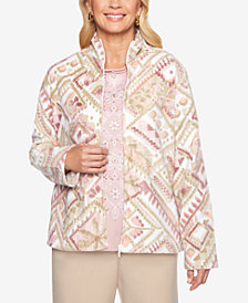 Alfred Dunner Home For The Holidays Printed Fleece Jacket