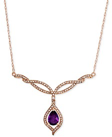 "Amethyst (5/8 ct. t.w.) & Diamond (1/3 ct. t.w.) 17"" Statement Necklace in 14k Rose Gold"