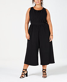Eyeshadow Trendy Plus Size Knit Cropped Jumpsuit