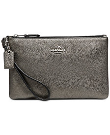 COACH Metallic Wristlet in Pebble Leather