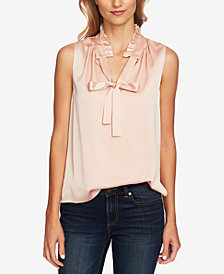 CeCe Sleeveless Bow-Neck Blouse