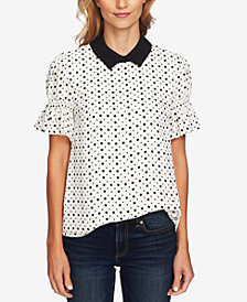 CeCe Printed Point-Collar Blouse