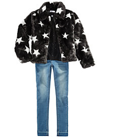 Epic Threads Big Girls Faux Fur Jacket, Metallic-Dot Top & Jeans, Created for Macy's