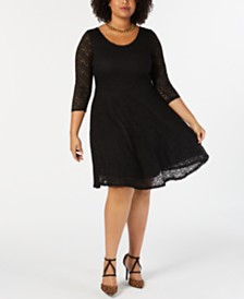 Soprano Trendy Plus Size Lace Fit & Flare Dress