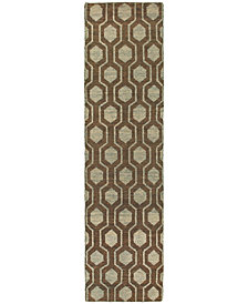 "Tommy Bahama Home  Maddox 56504 Brown/Blue 2'6"" x 10' Runner Area Rug"