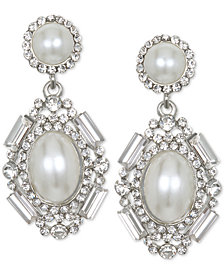 Jewel Badgley Mischka Silver-Tone Crystal & Imitation Pearl Drop Earrings