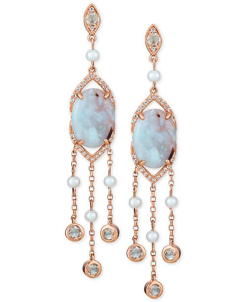 Le Vian Turquoise Aquaprase (14 x 10mm), White Topaz (1 ct. t.w.) & Cultured Freshwater Pearl (3mm) Drop Earrings in 14k Rose Gold, Created for Macy's