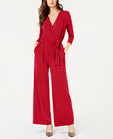 Alfani Petite Solid 3/4 Sleeve Jumpsuit, Created for Macy's