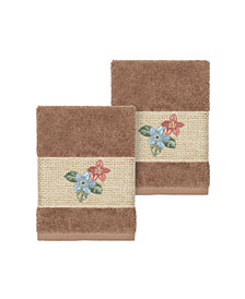 Linum Home Caroline 2-Pc. Embroidered Turkish Cotton Washcloth Set