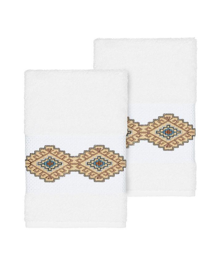 Linum Home - Gianna 2-Pc. Embroidered Turkish Cotton Hand Towel Set