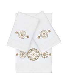 Isabelle 3-Pc. Embroidered Turkish Cotton Bath and Hand Towel Set