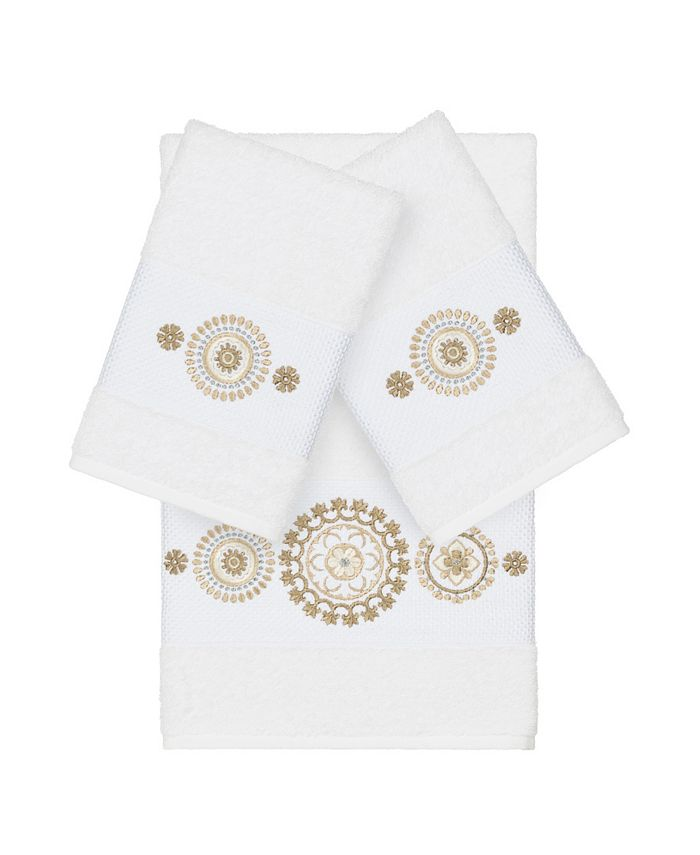 Linum Home - Isabelle 3-Pc. Embroidered Turkish Cotton Bath and Hand Towel Set