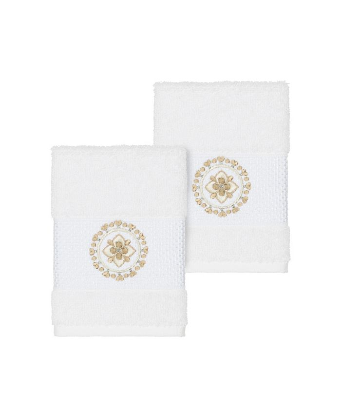 Linum Home - Isabelle 2-Pc. Embroidered Turkish Cotton Washcloth Set