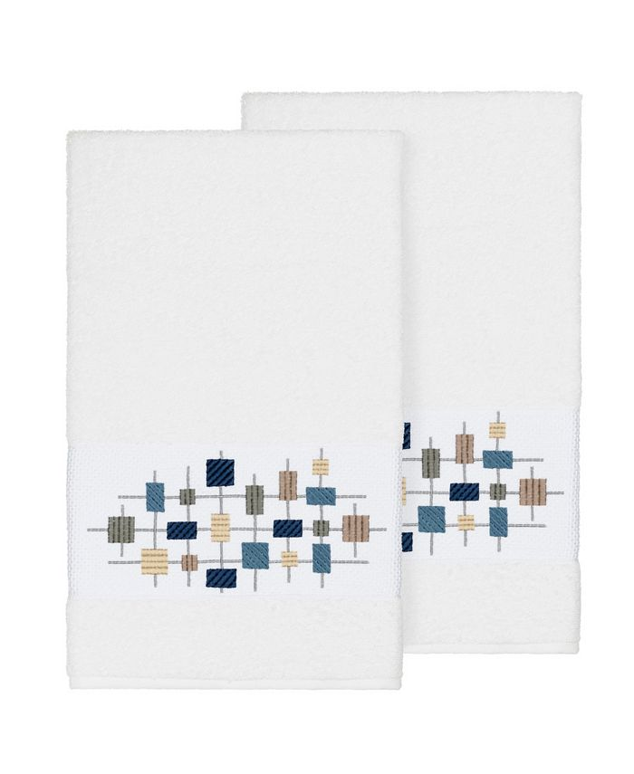 Linum Home - Khloe 2-Pc. Embroidered Turkish Cotton Bath Towel Set
