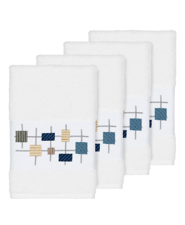 Linum Home - Khloe 4-Pc. Embroidered Turkish Cotton Hand Towel Set