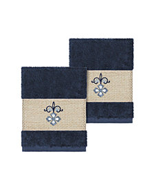Linum Home Quinn 2-Pc. Embroidered Turkish Cotton Washcloth Set
