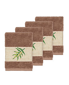 Linum Home Zoe 4-Pc. Embroidered Turkish Cotton Washcloth Set