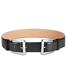 MICHAEL Michael Kors Double-Buckle Pebble Leather Belt