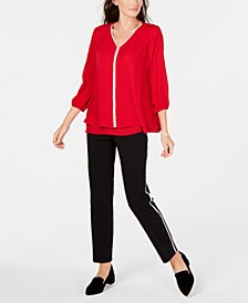 Embellished Blouse & Side-Stripe Pants, Created for Macy's
