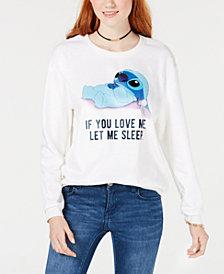 Love Tribe Juniors' Disney Stitch Fuzzy Graphic Sweatshirt