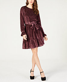 MICHAEL Michael Kors Burnout Velvet Flounce Dress, in Regular and Petite Sizes