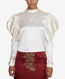 INSPR Natalie Off Duty Statement Shoulder Satin Top, Created for Macy's