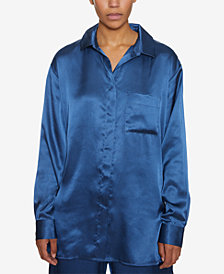 INSPR Natalie Off Duty Oversized Satin Top, Created for Macy's