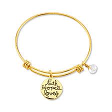 "Unwritten Yellow Gold Tone ""Faith Hope Love"" Crystal Cross Charm Bangle Bracelet, 8"" Length, 2.25"" Diameter"