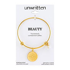 "Unwritten Yellow Gold Tone ""True Beauty Comes From Within"" Flower Charm Bangle Bracelet, 8"" Length, 2.25"" Diameter"