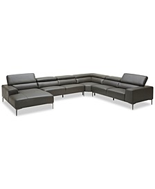 "CLOSEOUT! Mossley 163"" 4-Piece Leather Sectional Sofa"