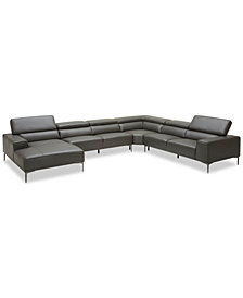 "Mossley 163"" 4-Piece Leather Sectional Sofa"