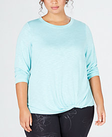 Ideology Plus Size Super-Soft Knotted Top, Created for Macy's