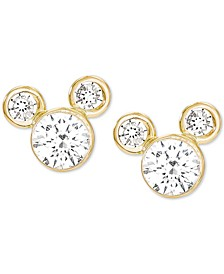Children's Cubic Zirconia Birthstone Mickey Mouse Stud Earrings in 14k Gold