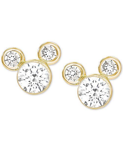 Disney Children's Cubic Zirconia Birthstone Mickey Mouse Stud Earrings in 14k Gold