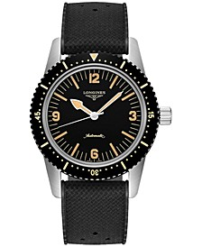 Men's Swiss Automatic Skin Diver Black Rubber Strap Watch 42mm