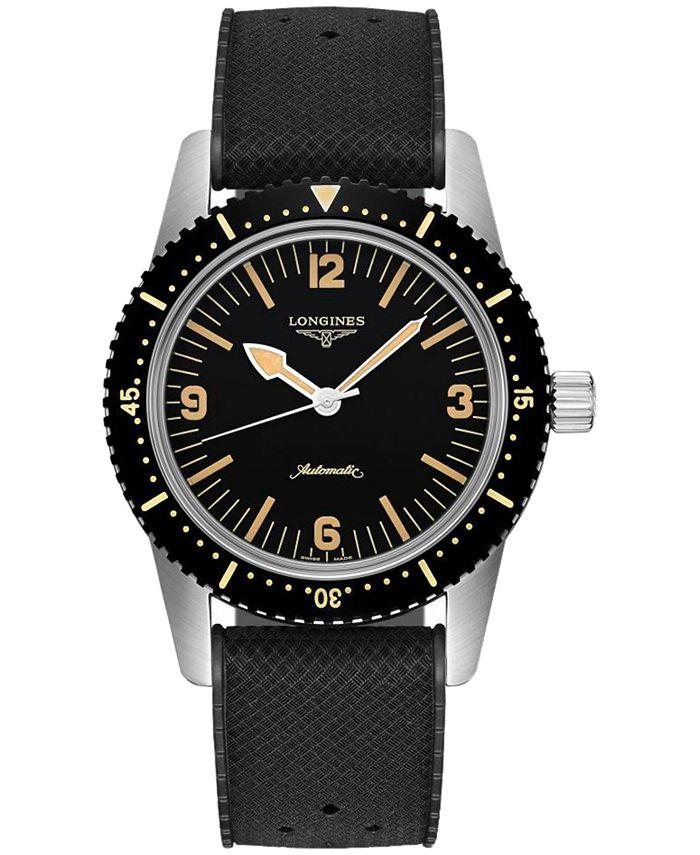 Longines - Men's Swiss Automatic Skin Diver Black Rubber Strap Watch 42mm